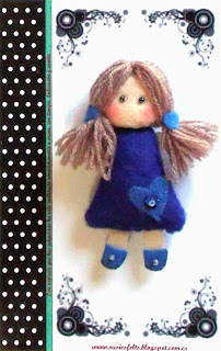 Susies, pippis, broches, fieltro, muñecas, handmade