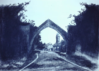 Edzell Arch, Edzell, Angus, Scotland - Charcoal by F. Lennox Campello, 1991