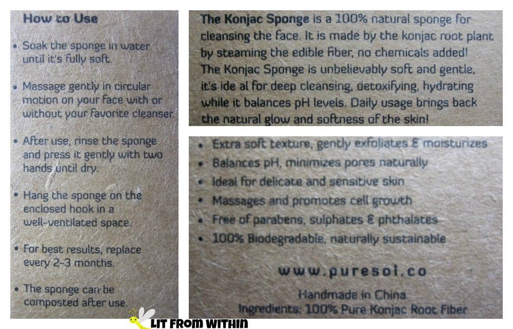 PureSol konjac sponge directions