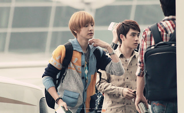exo chanyeol, d.o. airport style