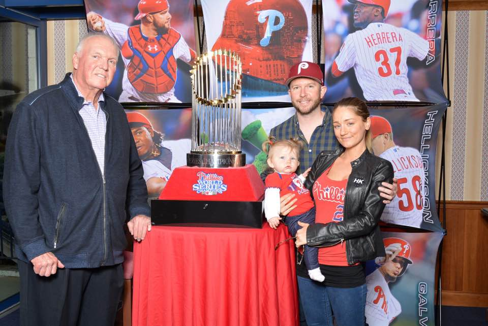 Matt, Kristina, and baby Scarlette with former Phillies manager, Charlie Manuel.