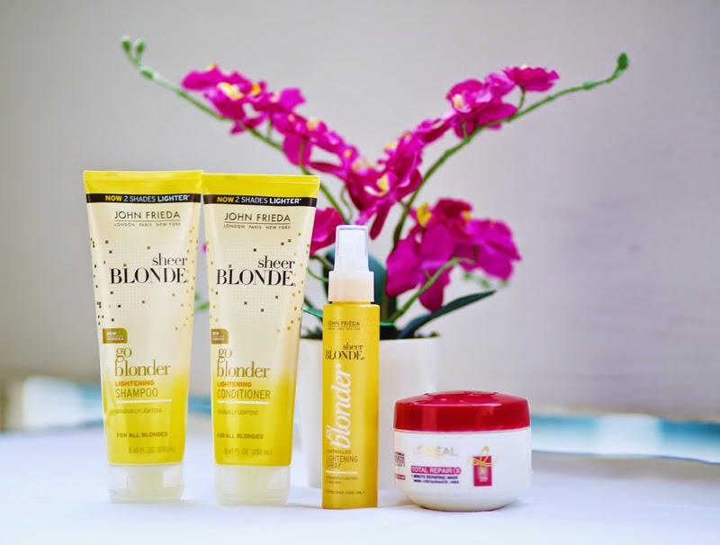 John Frieda blonde shampoo, conditioner and Sheer blonde lightening permanent spray