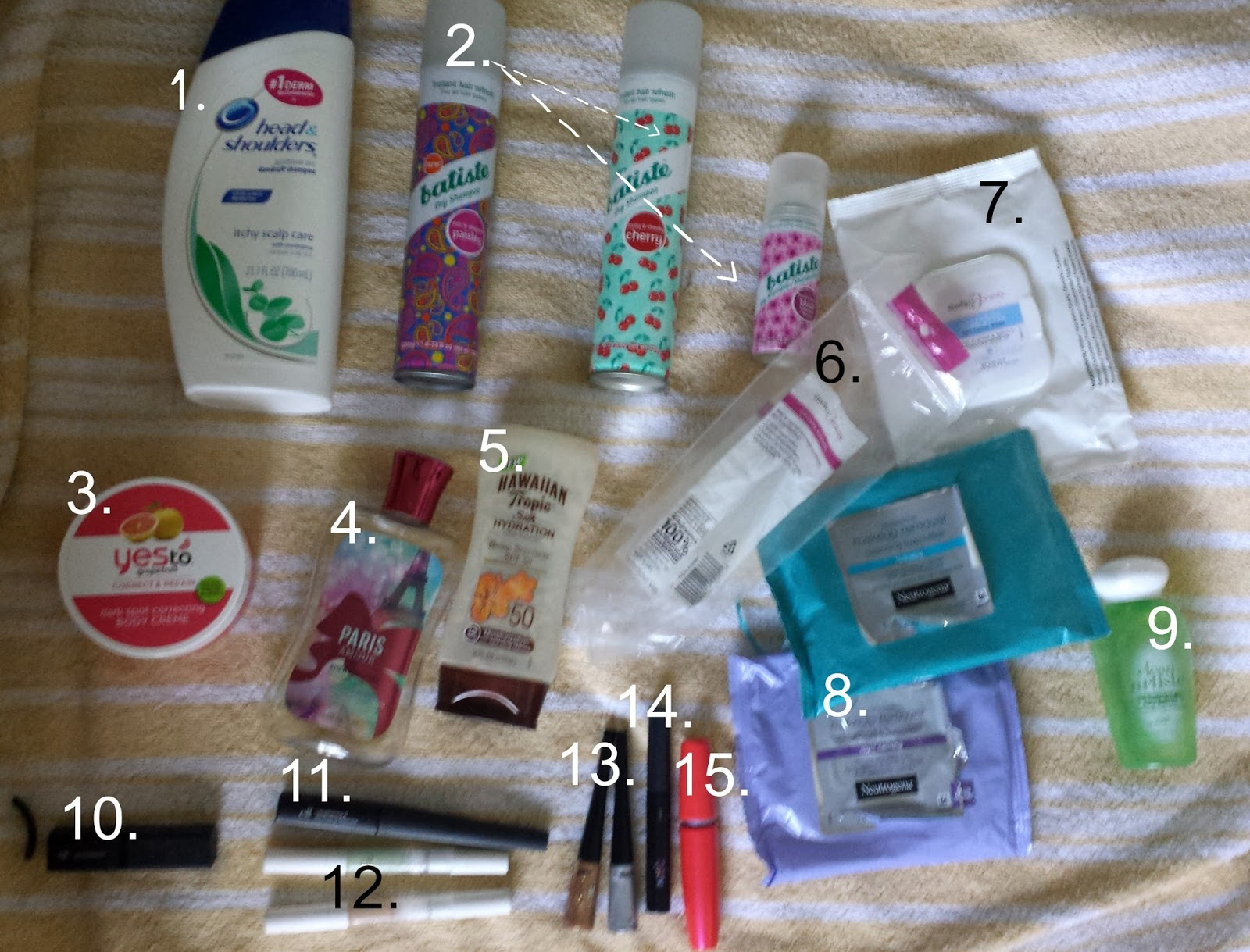 Empties June 2014, yes to grapefruit body creme, hawaiian tropics sunscreen, elf makeup, maybelline one by one mascara, batiste dry shampoo in cherry, floral and paisley, loreal waterproof eye makeup remover, neutrogena makeup wipes, paris amor bath and body works shower gel, head and shoulders shampoo