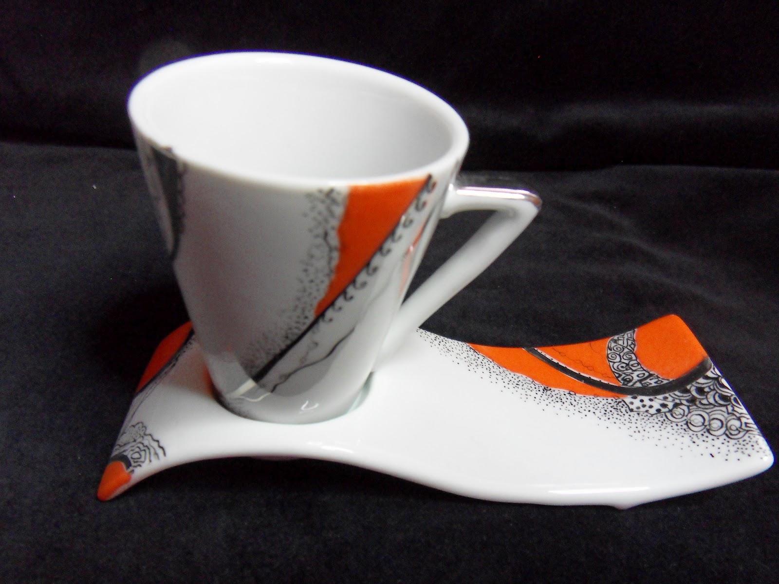 peinture sur porcelaine tasses expresso pour cadeau de mariage. Black Bedroom Furniture Sets. Home Design Ideas