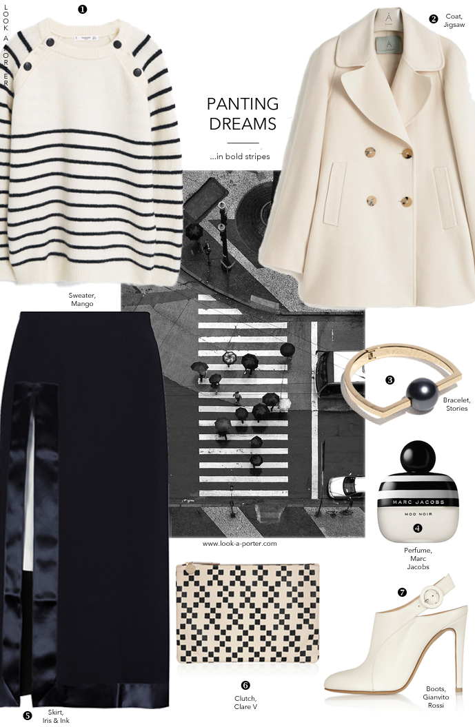 For my monochromatic friends and lovers of stripes... Via www.look-a-porter.com style blog, outfit inspiration delivered daily