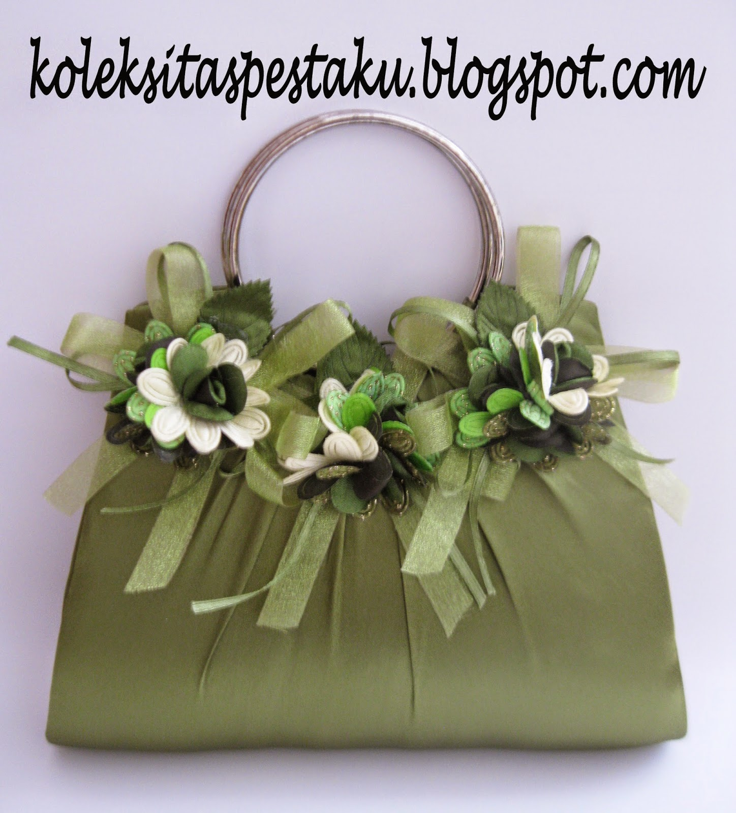 tas pesta bunga cantik unik hijau seger