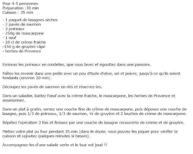 image recette Lasagnes au saumon, poireaux et crème de mascarpone