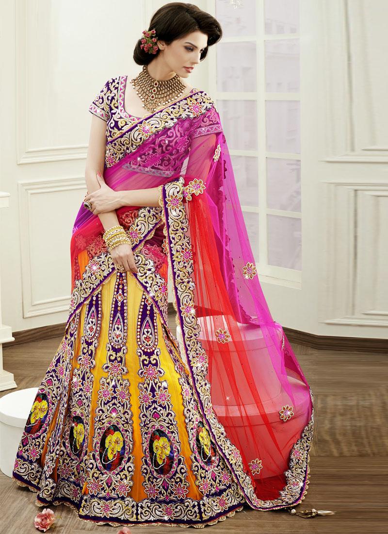 mustard net heavy embroidery work designer bridal wear a
