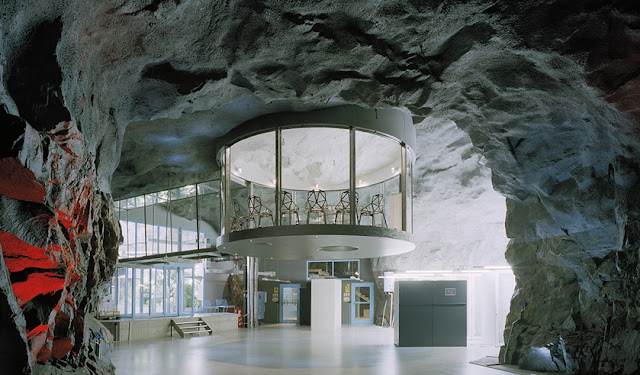 Photo of an underground office on the ceiling of the cave