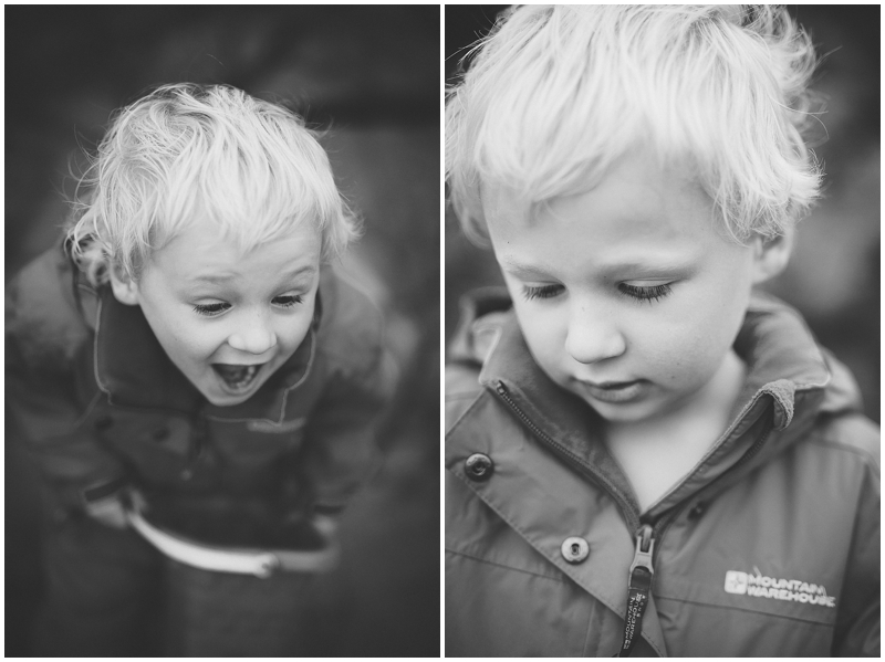 Black and white portraits of young boy