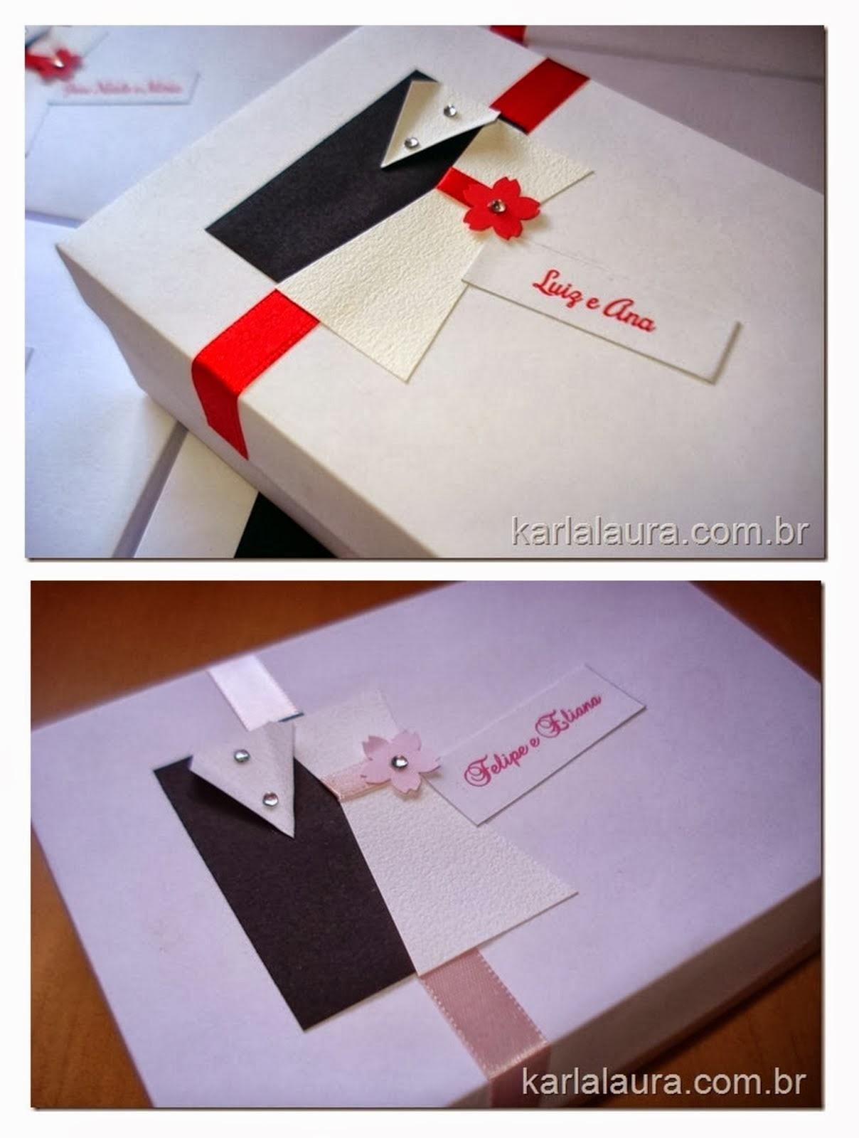 Caixa para Pais e Padrinhos - Modelo Casal de noivinhos