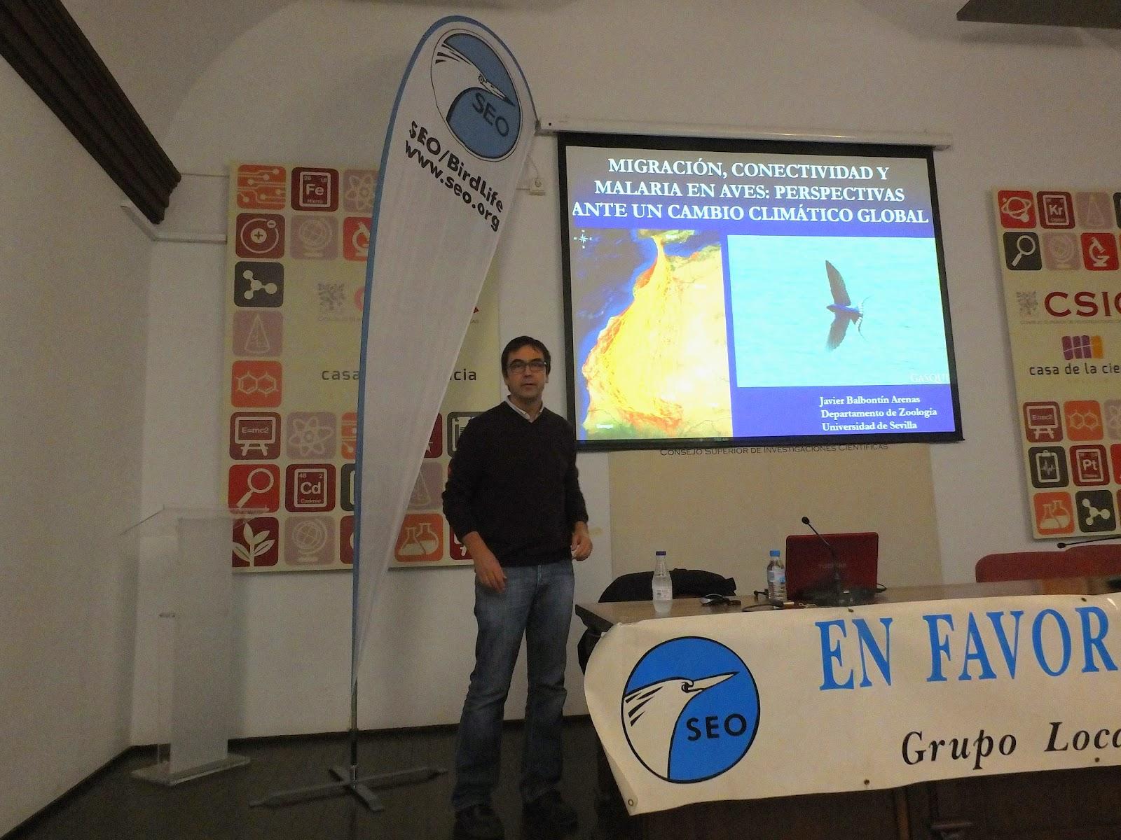 """Conferencia """"Migración, conectividad y malaria en aves"""". Por Javier Balbontín Arenas, en el ciclo Martes Ornitológicos que el Grupo Local SEO-Sevilla organizada en el museo Casa de la Ciencia de Sevilla"""