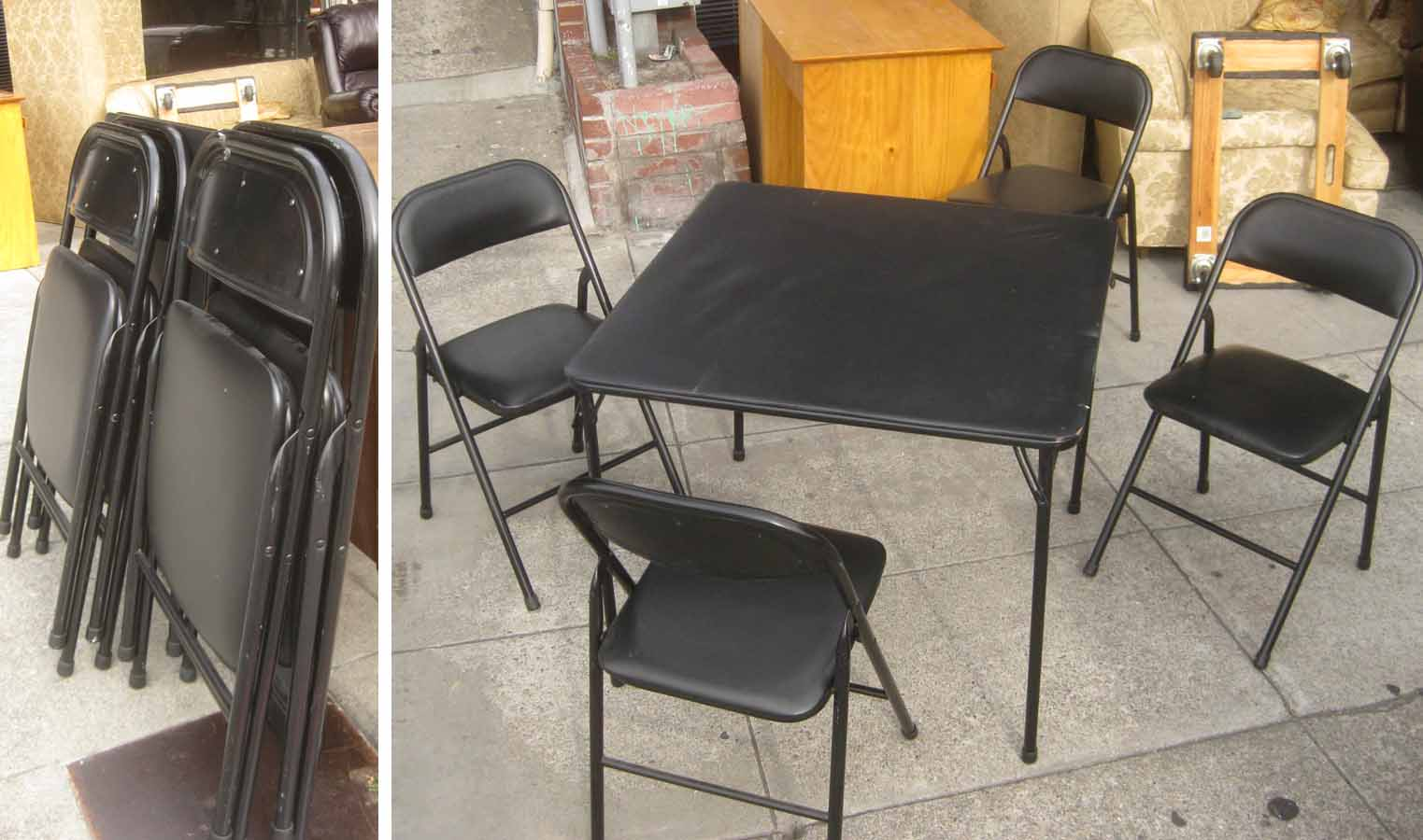 UHURU FURNITURE & COLLECTIBLES SOLD Folding Table and Chairs Set