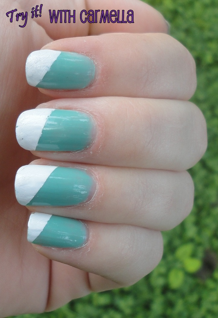 Try It With Carmella*: Scotch Tape Nails - Diagonal White Tips