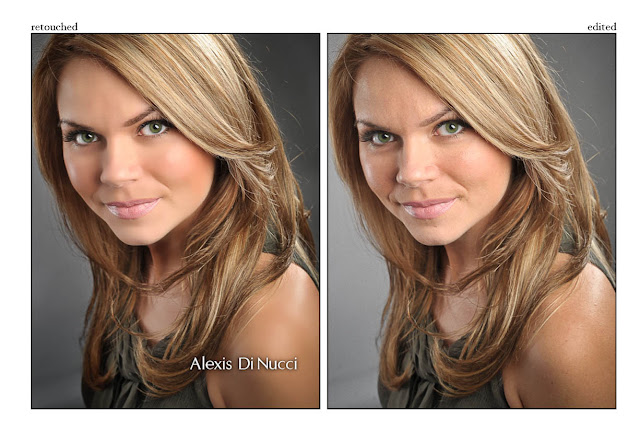 Example of Retouched actresshead shot & Regular edited version