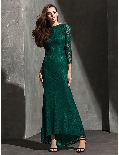 Vestido de Fiesta Formal Verde Largo Bateau