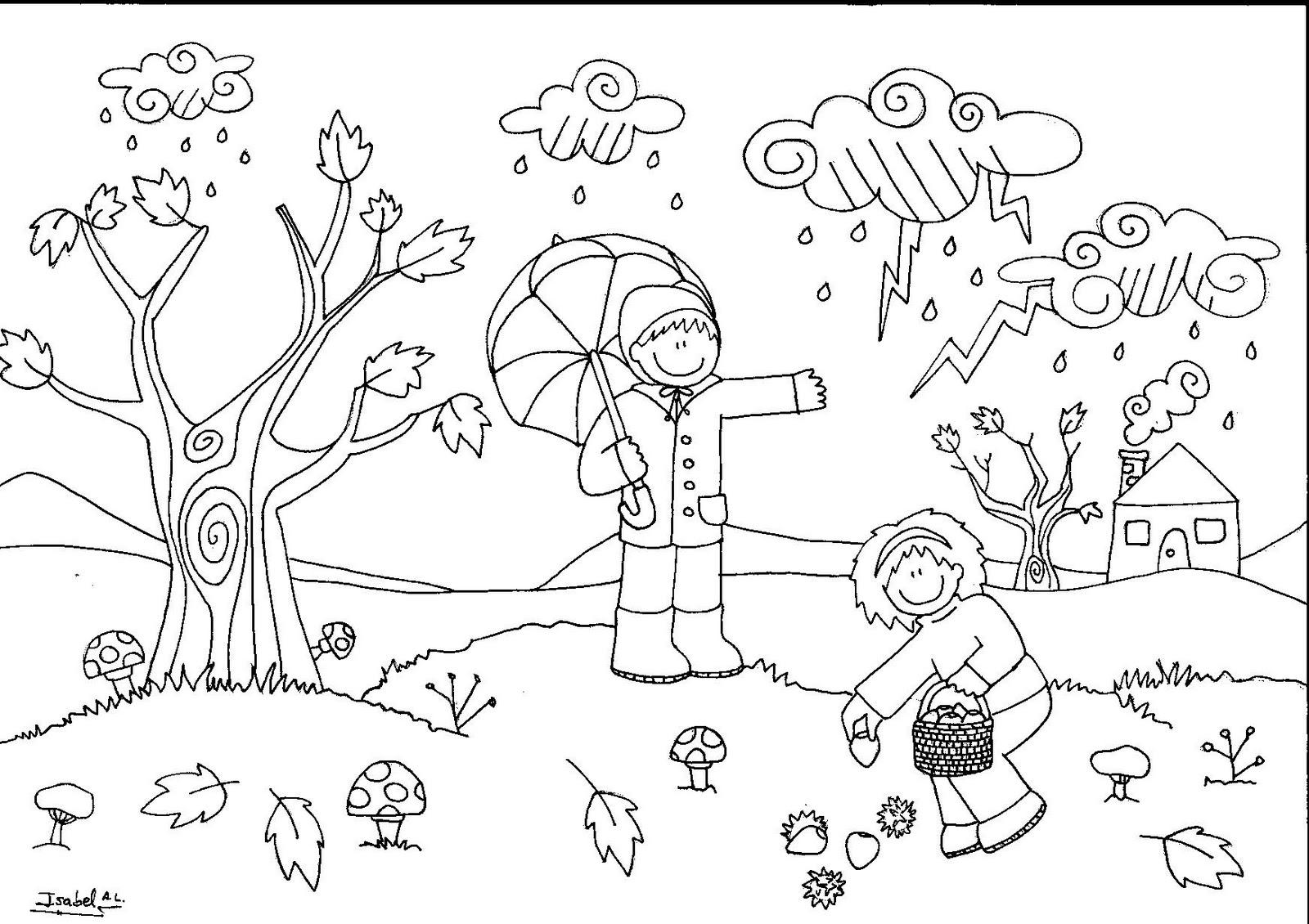 Recursos para Educación Infantil: Fichas para colorear; Tema: El Otoño.