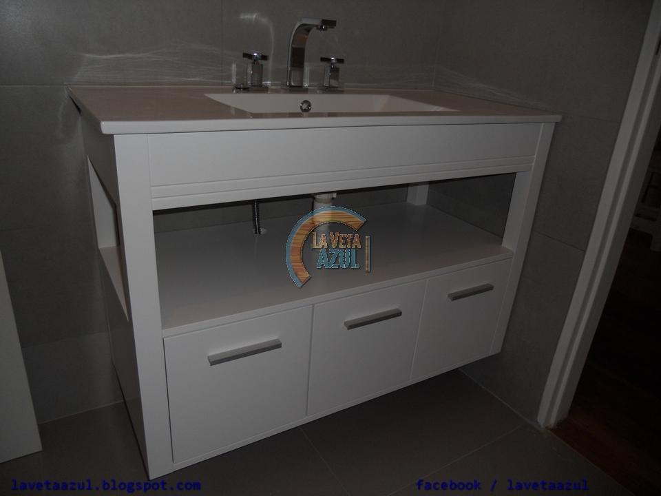 La veta azul mueble de ba o laqueado blanco semi mate - Muebles de bano blanco mate ...