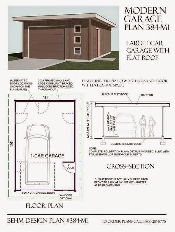 Garage plans blog behm design garage plan examples for Flat roof garage with deck plans