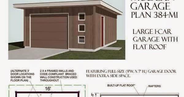 Garage plans blog behm design garage plan examples for Flat roof garage plans modern