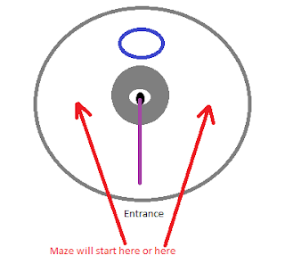 Durumu's disintegration beam precast; the eye beam points down towards the entrance, and red arrows point to either side where the maze will start forming.  A blue circle above him shows where you should stand to start.