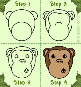 как нарисовать морду обезьяны шаг за шагом