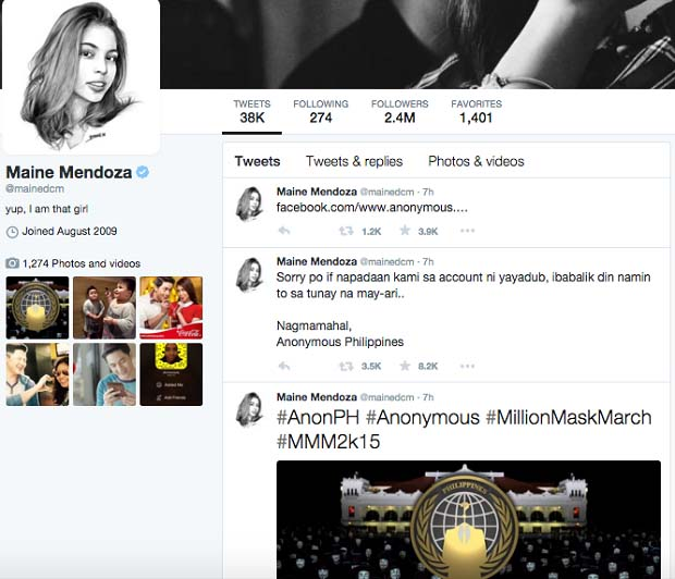 """The Twitter Account of Maine Mendoza or Yaya Dub was hacked by the country's prominent hacker """"Anonymous Philippines."""""""