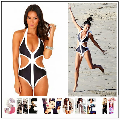 Black, Colour Block, Cut Out. TOWIE, Halterneck, Lucy Mecklenburgh, Missguided, Monochrome, Plunging, Swimming Costume, The Only Way Is Essex, The Only Way is Vegas, White,