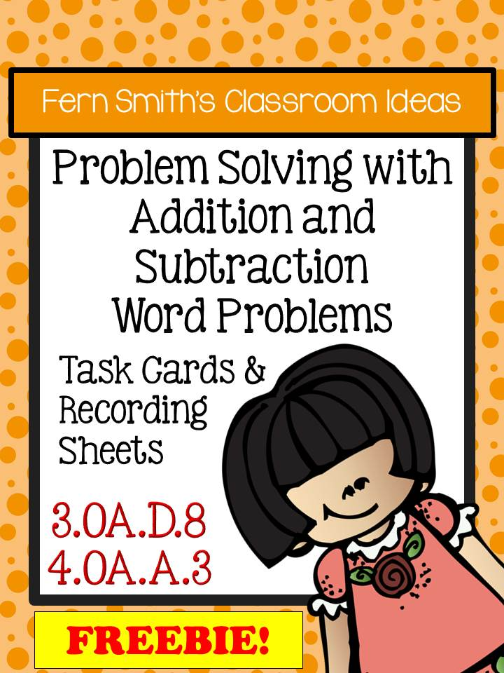 Fern Smith's FREE Problem Solving with Addition and Subtraction Task Cards & Answer Sheet