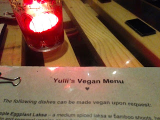 Yulli's, Surry Hills, Sydney - Vegan menu