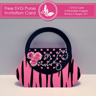 Free SVG |  Purse Invitation Card