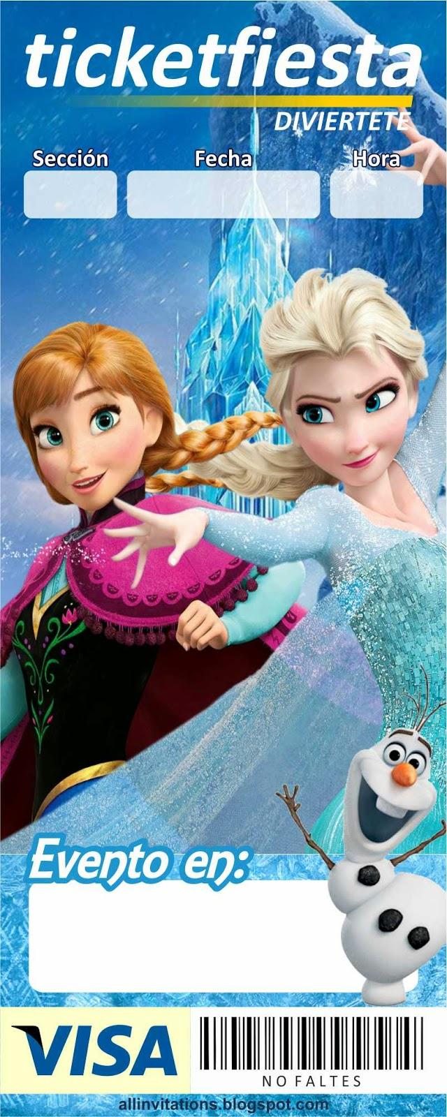 Plantilla para invitación tipo ticketmaster con el tema de Frozen una aventura congelada