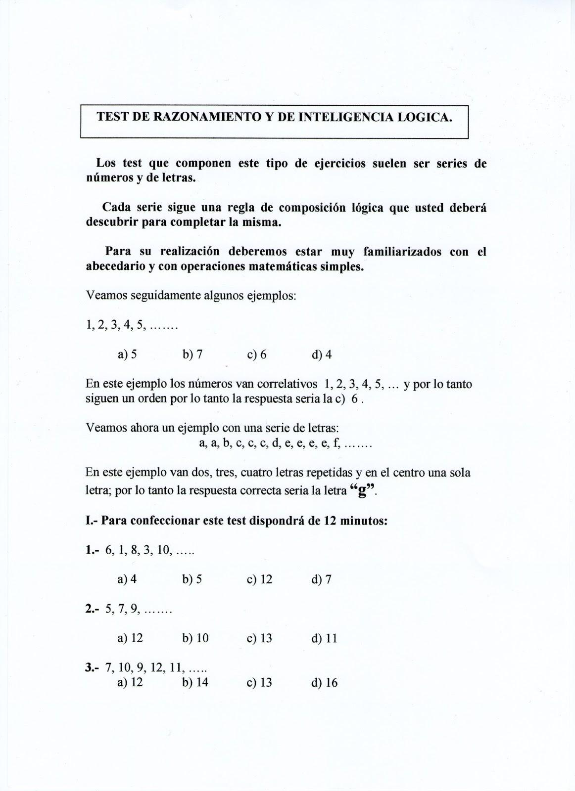 TEST DE RAZONAMIENTO Y DE INTELIGENCIA LÓGICA
