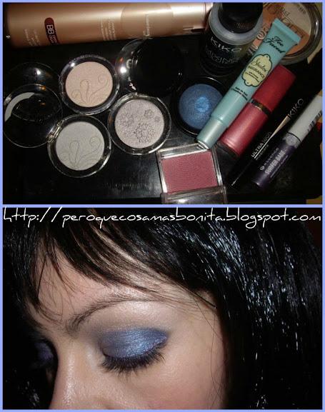 Maquillaje en azules y morados