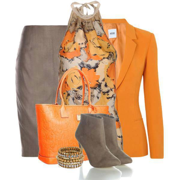 Orange blouse, jacket, hand bag and high heel shoes for ladies
