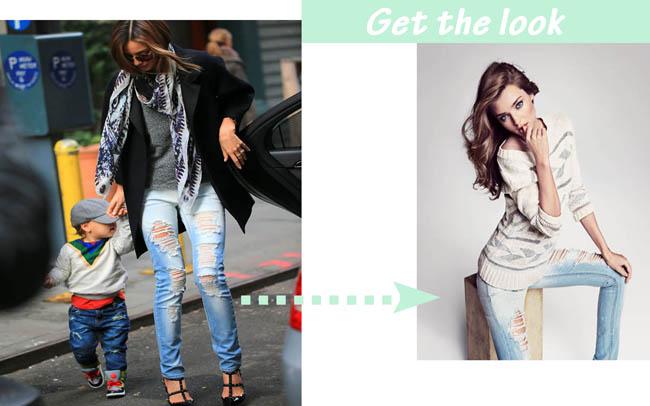 Miranda kerr pantalones rasgados get the look