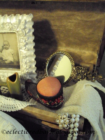 Eclectic Red Barn: Vintage Doll Box with small mirror, pinchusion and iron vase