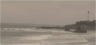 Surf waves outside of Biarritz