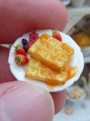 12th scale waffle breakfast plate served with woodland fruit.  Handmade by Paris Miniatures - Emmaflam and Miniman