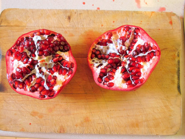 Pomegranate split in half