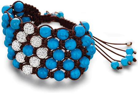 Tanya Rossi Blue and Crystal Beads Bracelet TRBR15A-Rs 3250