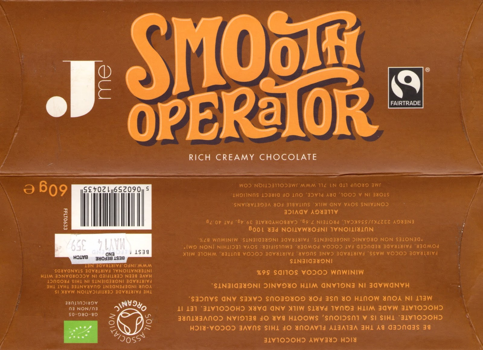 tablette de chocolat lait dégustation jme smooth operator
