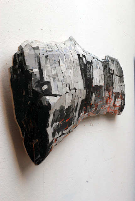 Ron van der Ende On Re-Entry (Burning Log) 2010 bas-relief in salvaged wood 262 x 87 x 12 cm (private collection, Seattle, WA)