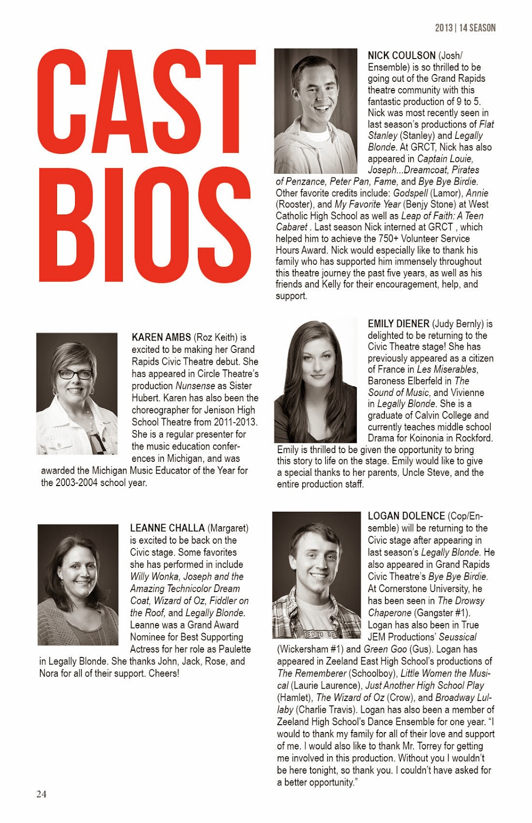 9 TO 5 THE MUSICAL: Cast Bios