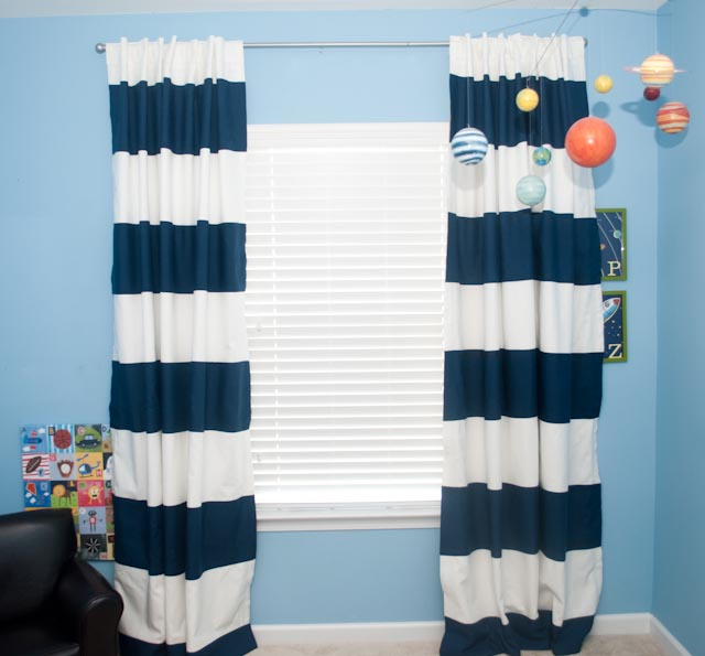 No-Sew Striped Curtains - The Thrifty Abode