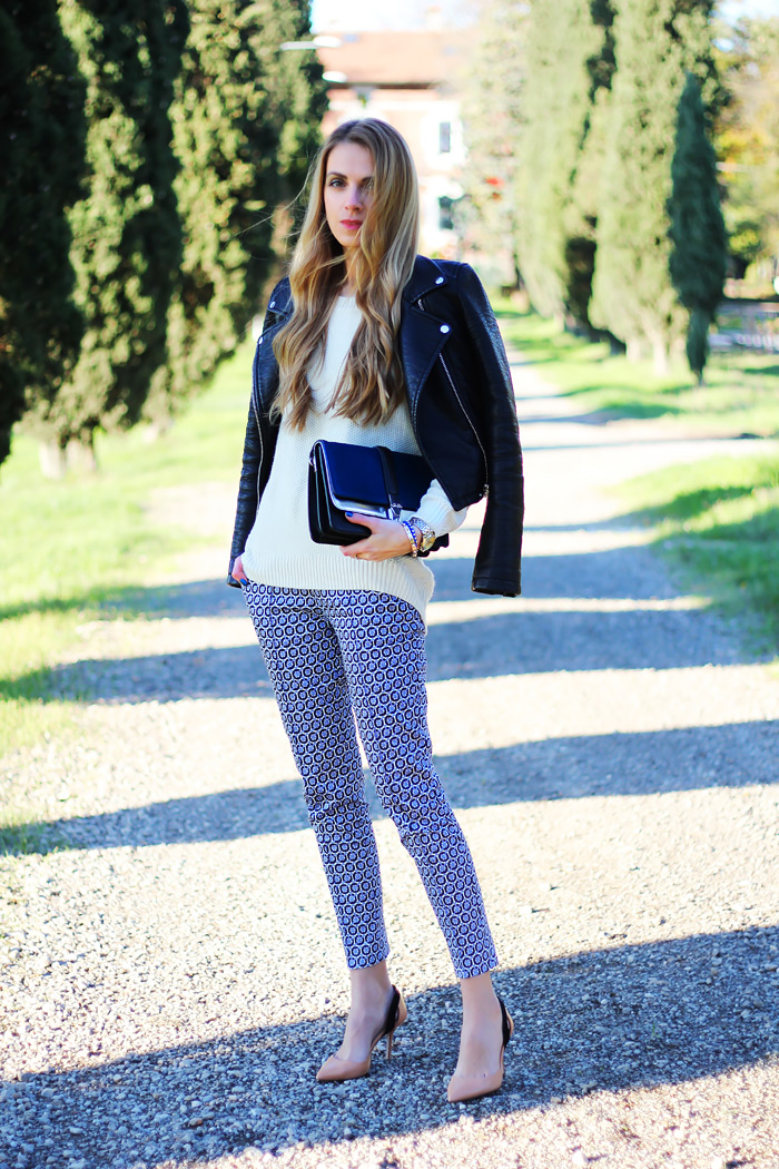 printed pants, Zara leather jacket, fall outfit, style, color block bag