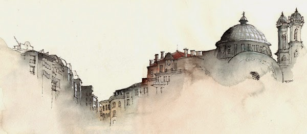 Water colour picture of Instanbul, Turkey