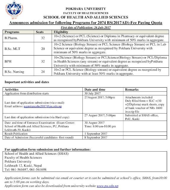 B.Pharm, Bsc MLT, BPH and BSc Nursing admission notice at Pokhara University 2017