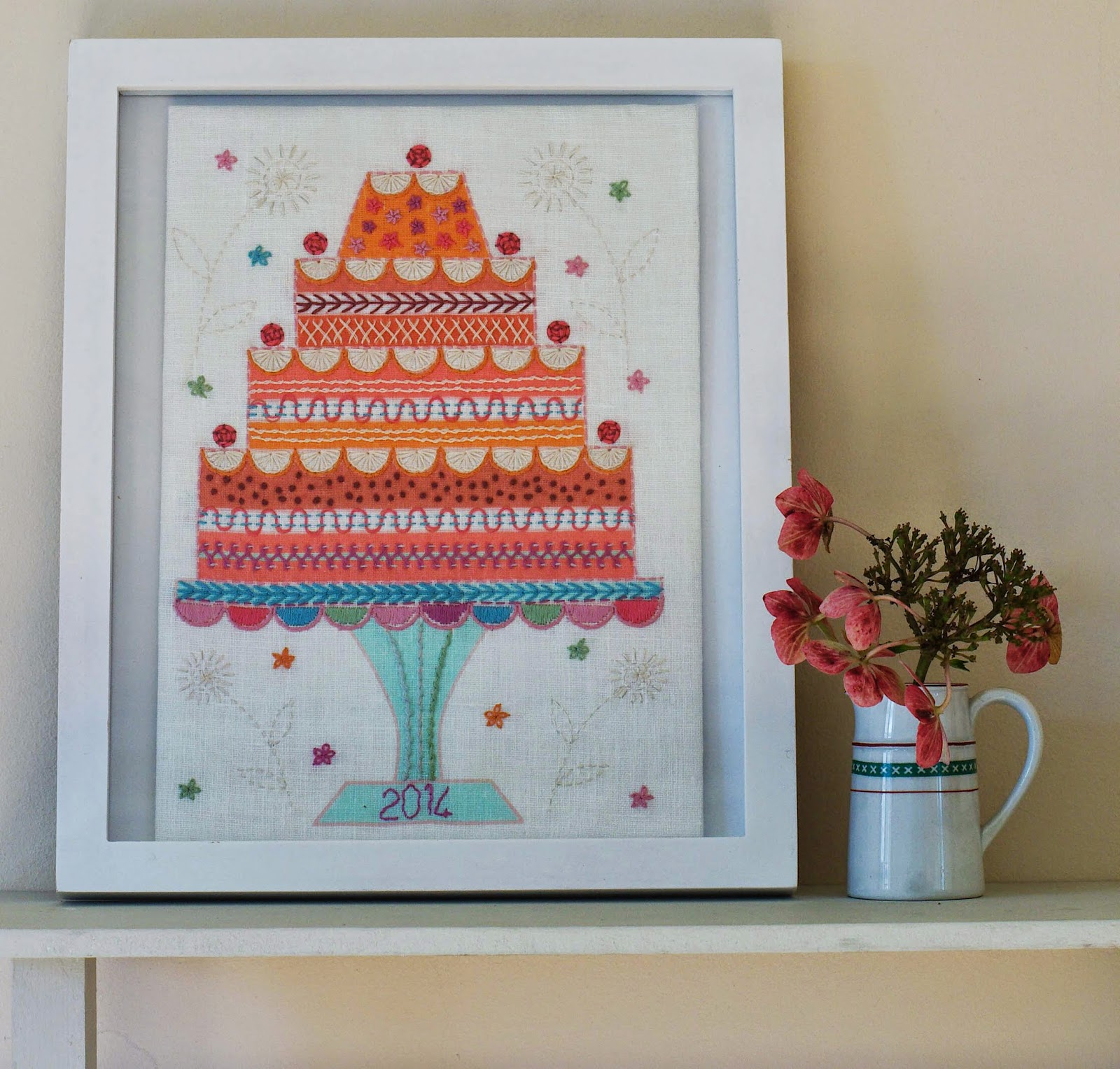 Celebration Cake Embroidery Kit Framed in a standard frame