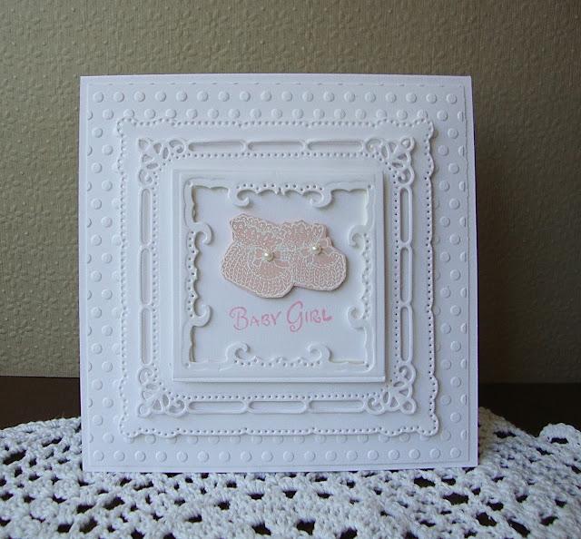 Serendiipity Stamps Baby Booties Baby Girl Elegant Baby Card Spellbinder Marvelous Squares